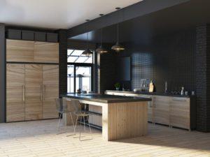 czarna kuchnia z drewna na wymiar